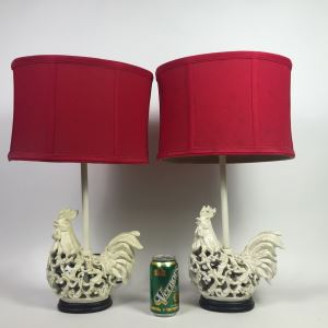 Pair Of Rooster Table Lamps