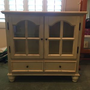 White Distressed Cabinet With Glass Window Doors 32'W X 12'D X 30'H