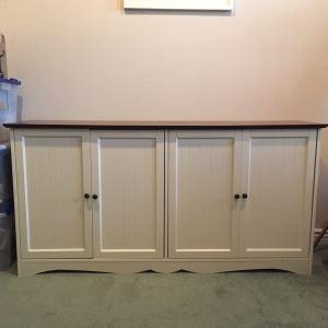 White 4-Door Cabinet Credenza 58'W X 14.5'D X 29'H