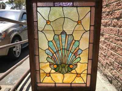 Stunning Vintage Framed Stained Glass Shell Motif 28.5' X 41'