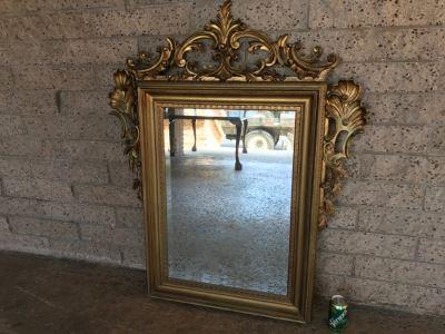 Stunning Gilt Wooden Beveled Glass Wall Mirror 36'W X 45'H