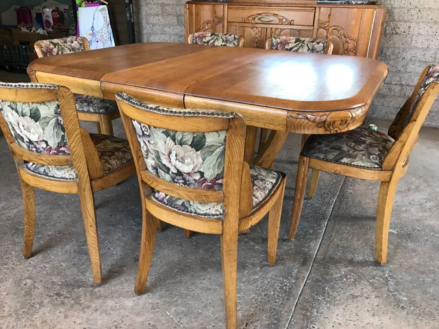 Stunning Vintage Carved Oak Dining Table With (6) Chairs [Photo 1]