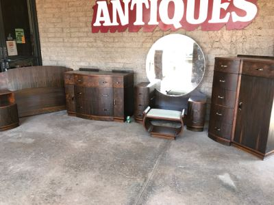 Art Deco Bedroom Set With Vanity And Bench, Dresser With Mirror, Gentleman's Dresser, Nightstand And Full Size Bed By Detroit Furniture Co