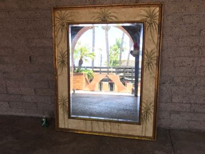 Vintage Beveled Glass Wall Mirror Palm Tree Motif 45' X 53.5'