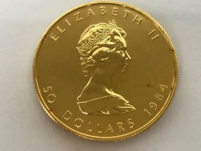 1984 Canada 1oz 50 Dollar Maple Leaf Gold Coin Uncirculated - Has Reserve