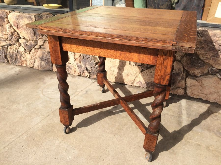 Awesome Vintage English Table W/ Casters And Four Spiral Turned Legs Secured With  Crossed Stretchers