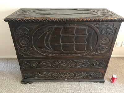 Incredible Antique East Coast Sailor's Chest Hand Carved Throughout With Old Ship On Front And Large Whale On Top Needs Some TLC