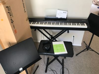 Roland FP-4 Digital Piano With Original Box , On Stage Stands Stand, Portable Bench And (2) Portable Music Stands