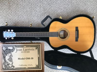 Like New Jean Larrivée Guitar Model OM-10 Rosewood/Sitka With Mother Of Pearl Inlay And Hard Case Made In California, USA Retails For $4,324