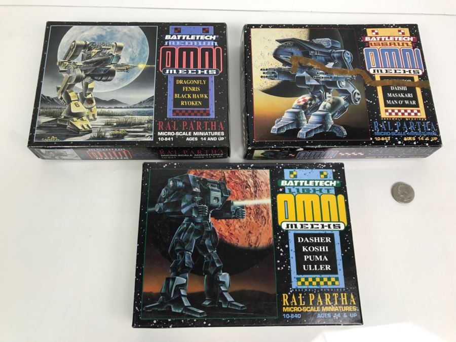 Set Of (3) New In Box BattleTech Omnimechs Ral Partha Micro-Scale Miniatures