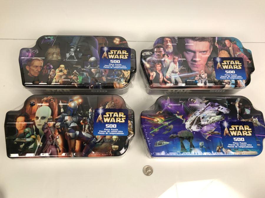 Set Of (4) New Star Wars Tins 500 Piece Puzzles