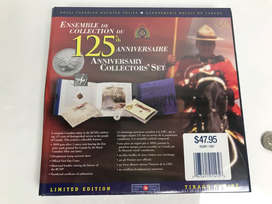 Sealed Royal Canadian Mounted Police 125th Anniversary Collectors' Set With Silver Coin And Stamps