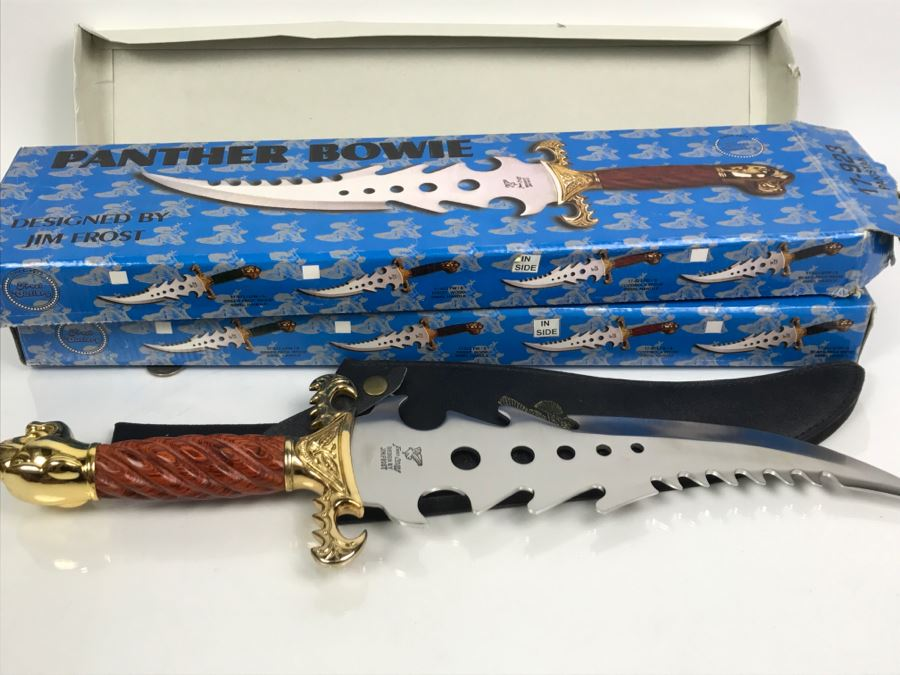 Pair Of Panther Bowie Fantasy Knives Designed By Jim Frost In Boxes New Old Stock Pakistan