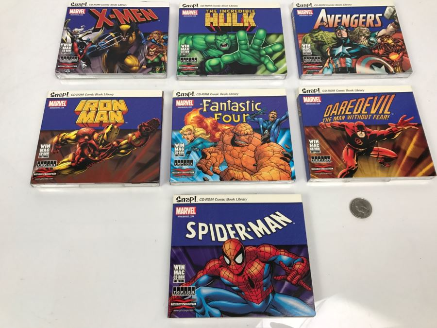 Collection Of (7) Sealed Marvel Comics Snap! CD-ROM Comic Book Library: X-Men, Spider-man, Hulk, Avengers, Iron Man, Fantastic Four, Daredevil [Photo 1]