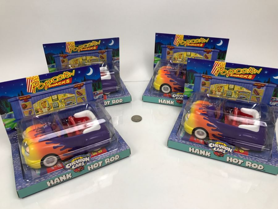 Set Of (4) New Old Stock Chevron Cars Hank Hot Rod 2001