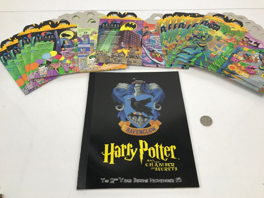 Harry Potter And The Chamber Of Secrets Ravenclaw Movie Promotion Notebook And Collection Of Batman Happy Meal Boxes New Old Stock New Old Stock