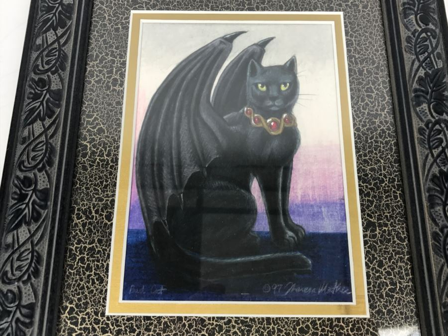 Original Comic Con Art Show Artwork By Theresa Mather Titled 'Bad Cat' 1998