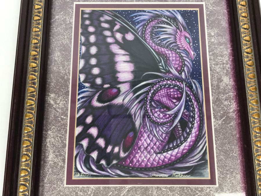 Original Comic Con Art Show Artwork By Theresa Mather Titled 'Amethyst Dragon Fly' 2001