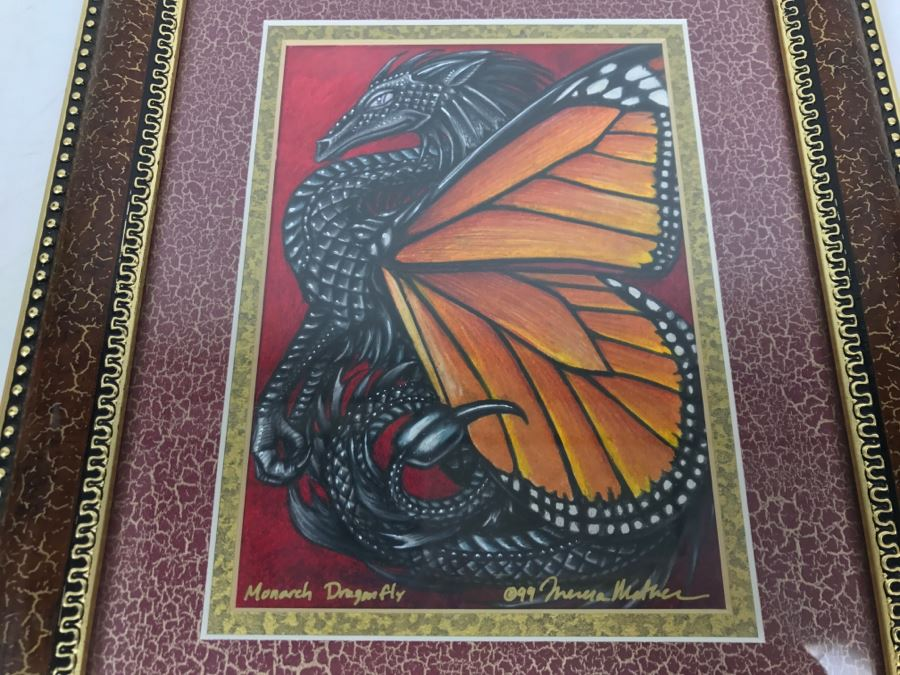 Original Comic Con Art Show Artwork By Theresa Mather Titled 'Monarch Dragonfly' 1999