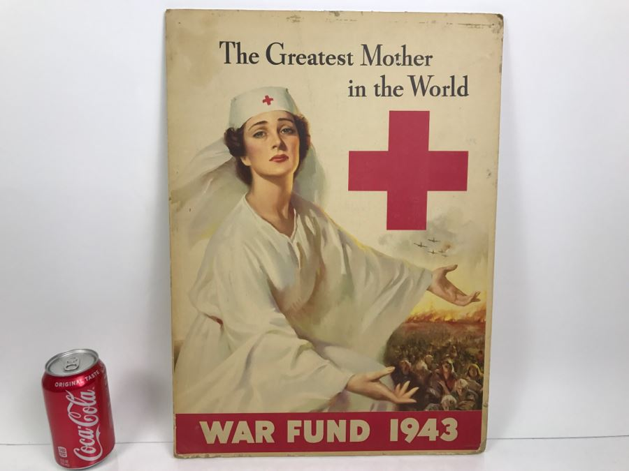 Vintage 1940's Red Cross War Fund 1943 Poster On Board The Greatest Mother In The World