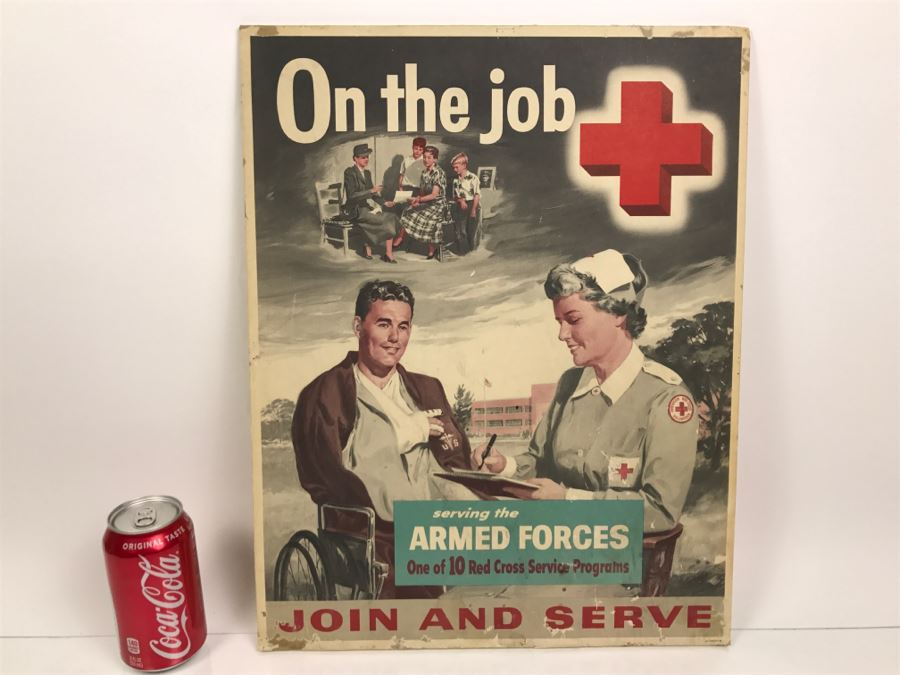 Vintage 1940's Red Cross On The Job Poster On Board Join And Serve