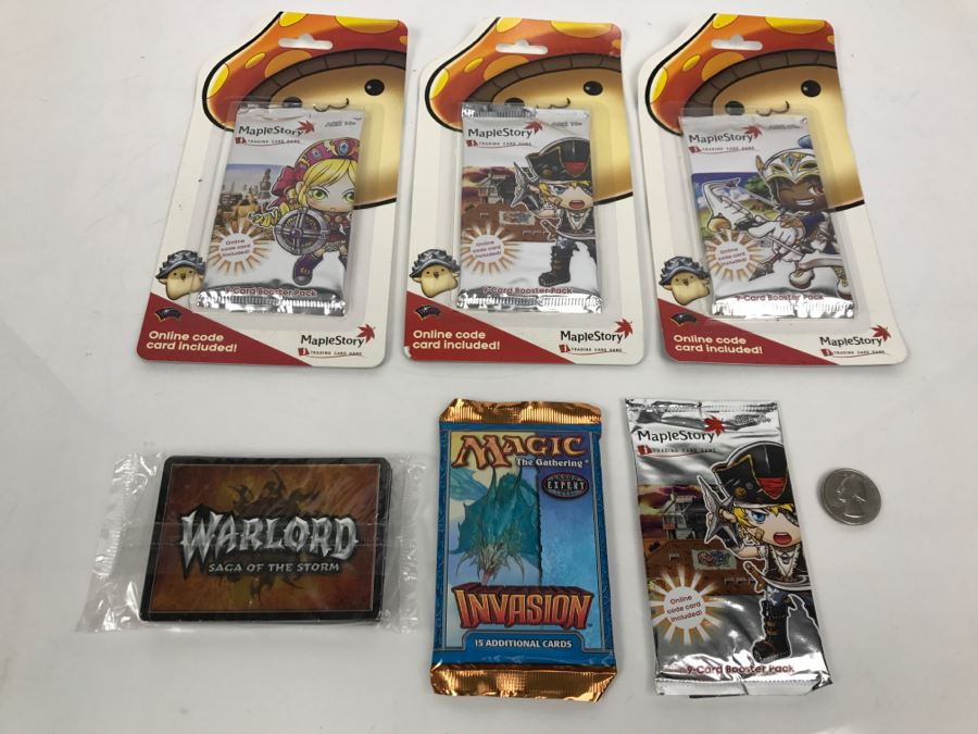 Various Unopened Card Packs: Magic The Gathering Invasion, Warlord Saga Of The Storm, And Maplestory Trading Card Games