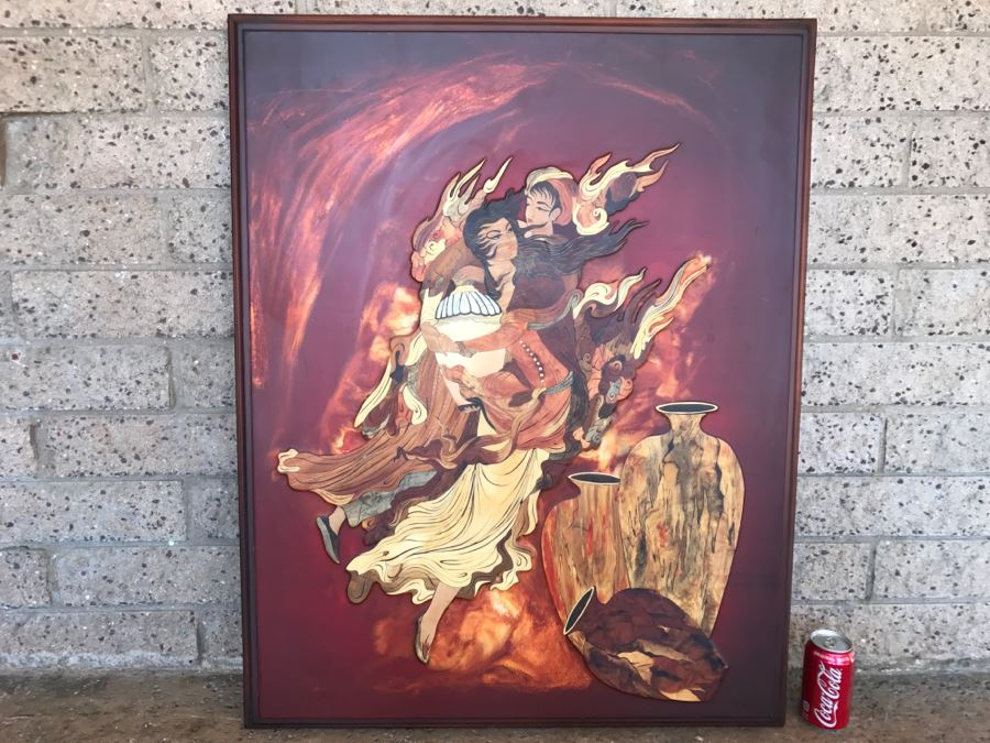 Impressive Marquetry Inlaid Wood Artwork Signed By Artist ? Group