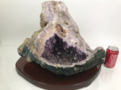 Huge Amethyst Geode Rock Stone With Wooden Base For Presentation 19'W X 11'D X 12'H