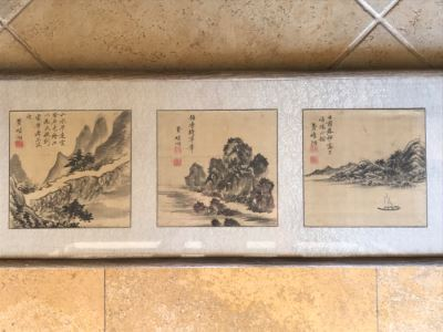 Original Antique Triptych (3) Chinese Landscape Paintings Attributed To Fei Qinghu Late 18th To Early 19th Century
