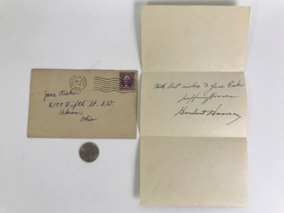 Vintage 1933 Handwritten Note And Signatures From Lou Henry Hoover (Former First Lady of the United States) AND President Herbert Hoover