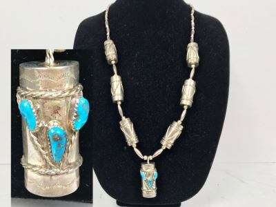 Sterling Silver And Turquoise Necklace Signed C.W. 77g