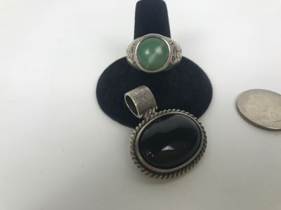 Vintage Sterling Silver Ring With Green Stone And Sterling Silver Black Onyx Pendant 21.2g