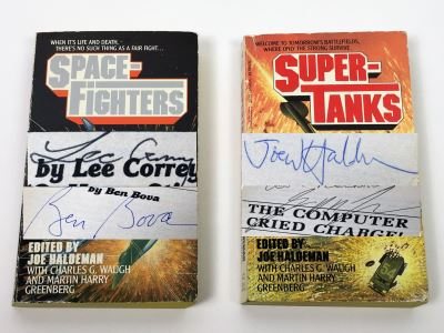 Joe Haldeman Collection: Space Fighters & Super Tanks Compilations - Signed by Lee Correy (G. Harry Stine), Ben Bova, Joe Haldeman & George R.R. Martin