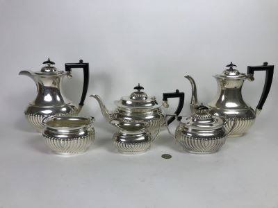 (6) Piece English Silverplate (2) Coffee Pots, Teapot, Creamer And Sugar