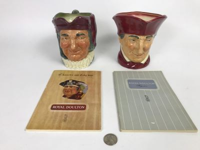 Vintage Royal Doulton Toby Mugs Of Simon Cellarer And The Cardinal And Pair Of Royal Doulton Books On Figurines And Character And Toby Jugs