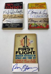 Pawn to Infinity - Signed by Fred Saberhagen, Poul Anderson & George R.R.Martin; Futures to Infinity - Signed by L. Sprague de Camp, A.E. Van Vogt & Ray Bradbury; First Flight: Maiden Voyages in Space & Time - Signed by L. Sprague de Camp