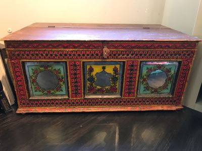 Vintage Hand Painted Wooden Trunk With Glass Painted Front Panels 35'W X 20'D X 16'H