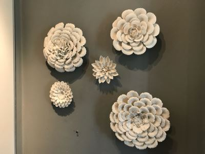Set Of (5) Wall Mounted Porcelain Flowers - Larger Flower Is 9'W
