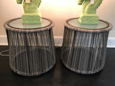 Pair Of Modern Round Side Tables With Glass Tops 18'H x 18'W