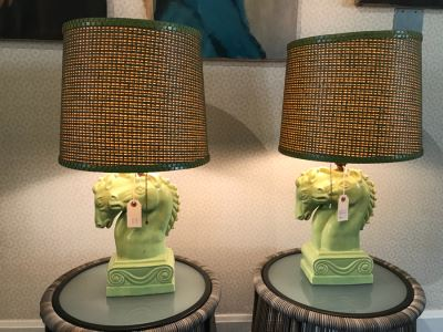 Pair Of Vintage Green Horse Head Table Lamps With Modern Shades (Note One Lamp Has Been Repaired As Shown In Photos)
