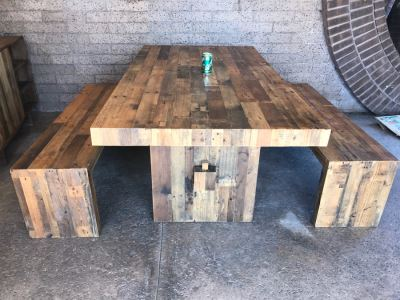 Crate & Barrel Dining Table With Pair Of Bench Seats