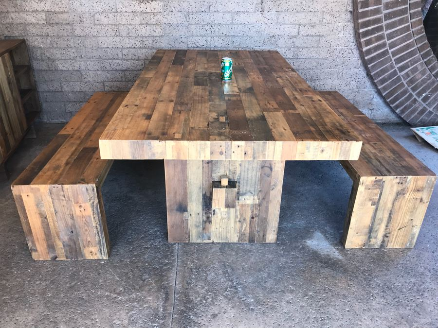 Crate & Barrel Dining Table With Pair Of Bench Seats [Photo 1]