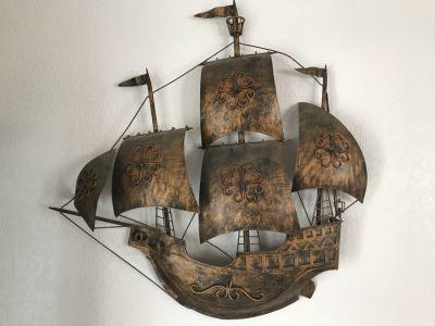 Vintage Metal Ship Wall Art Made In Spain