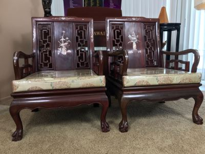 Pair Of Heavy Chinese Rosewood Armchairs With Mother Of Pearl Inlay Throughout