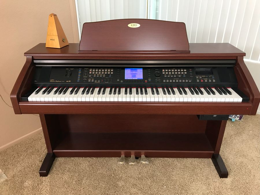KAWAI Digital Concert Performer Piano Model CP137M With Bench, Seth Thomas Metronome And Sheet Music Books Estimate $2,000 [Photo 1]