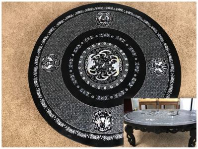 Stunning Chinese Black Lacquer Round Coffee Table With Detailed Mother Of Pearl Inlay And Glass Protective Top