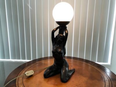 Painted Resin Table Lamp Of Nude Woman Holding Light