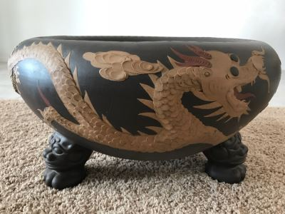 Signed Asian Dragon Serpent Footed Planter Pot
