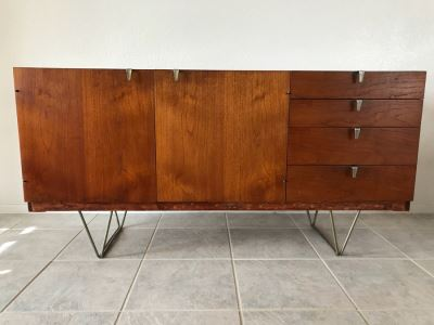 Mid-Century Modern Credenza Cabinet With Metal Legs By STAG Furniture