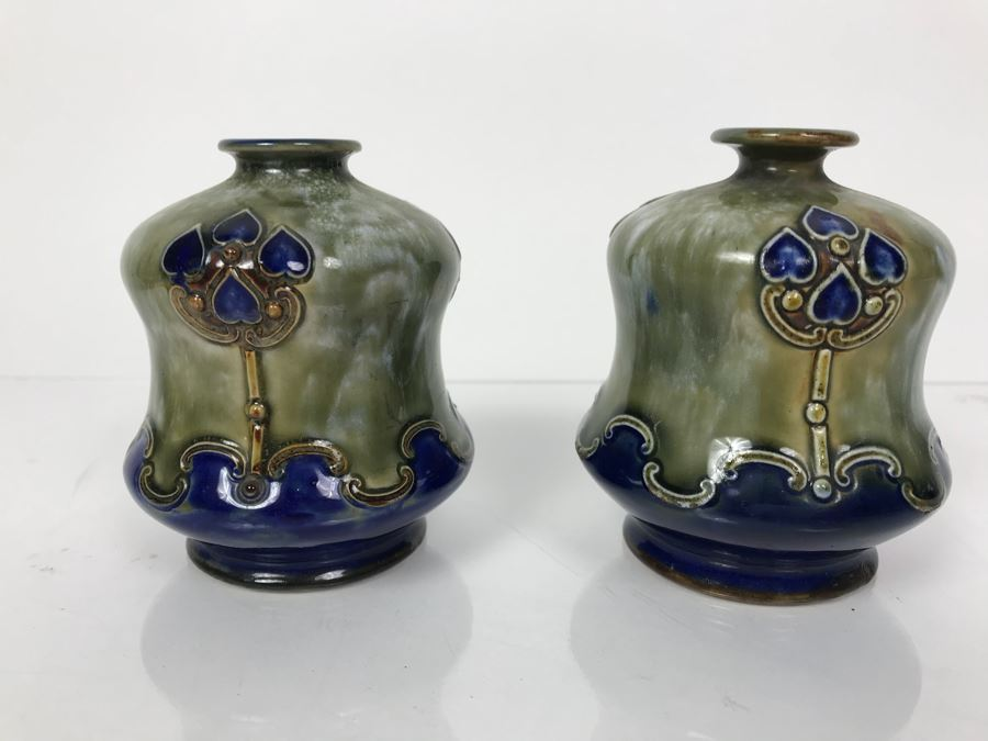 Pair Of Antique Royal Doulton England Vases 2689 35h